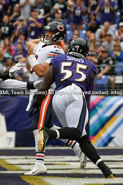 BALTIMORE, MD - OCTOBER 15: Chicago Bears quarterback Mitchell Trubisky (10) throws under pressure from Baltimore Ravens outside linebacker Terrell Suggs (55) on October 15, 2017, at M&T Bank Stadium in Baltimore, MD.  (Photo by Mark Goldman/Icon Sportswire)