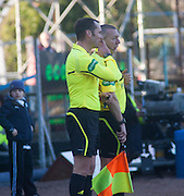 Referee Stephen O'Reilly consults assistant Charlie Smith before chalking off Steven Milne's first half 'goal' - Dundee v Kilmarnock, William Hill Scottish FA Cup 4th Round,..- © David Young - .5 Foundry Place - .Monifieth - .DD5 4BB - .Telephone 07765 252616 - .email; davidyoungphoto@gmail.com - .web; www.davidyoungphoto.co.uk.