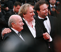 Sepp Blatter, Gerard Depardieu and Frederic Auburtin at the The Homesman gala screening red carpet at the 67th Cannes Film Festival France. Sunday 18th May 2014 in Cannes Film Festival, France.