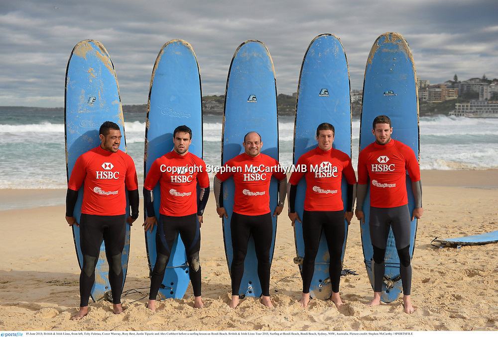 15 June 2013; British & Irish Lions, from left, Toby Faletau, Conor Murray, Rory Best, Justin Tipuric and Alex Cuthbert before a surfing lesson on Bondi Beach. British & Irish Lions Tour 2013, Surfing at Bondi Beach, Bondi Beach, Sydney, NSW, Australia. Picture credit: Stephen McCarthy / SPORTSFILE