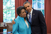 04.JUNE.2013. WASHINGTON D.C.<br /> <br /> PRESIDENT BARACK OBAMA EMBRACES MYRLIE EVERS-WILLIAMS DURING HER VISIT IN THE OVAL OFFICE, JUNE 4, 2013. THE PRESIDENT MET WITH THE EVERS FAMILY TO COMMEMORATE THE APPROACHING 50TH ANNIVERSARY OF MEDGAR EVERS' DEATH.<br /> <br /> BYLINE: EDBIMAGEARCHIVE.CO.UK<br /> <br /> *THIS IMAGE IS STRICTLY FOR UK NEWSPAPERS AND MAGAZINES ONLY*<br /> *FOR WORLD WIDE SALES AND WEB USE PLEASE CONTACT EDBIMAGEARCHIVE - 0208 954 5968*