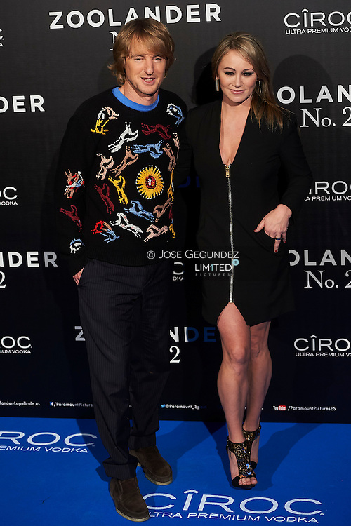 Christine Taylor, Owen Wilson attend 'Zoolander No. 2' film premiere at Capitol Cinema on February 1, 2016 in Madrid, Spain
