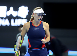BEIJING , Oct. 1, 2018  Caroline Wozniacki of Denmark celebrates scoring during the women's singles first round match against Belinda Bencic of Switzerland at China Open tennis tournament in Beijing, China, Oct. 1, 2018. (Credit Image: © Song Yanhua/Xinhua via ZUMA Wire)
