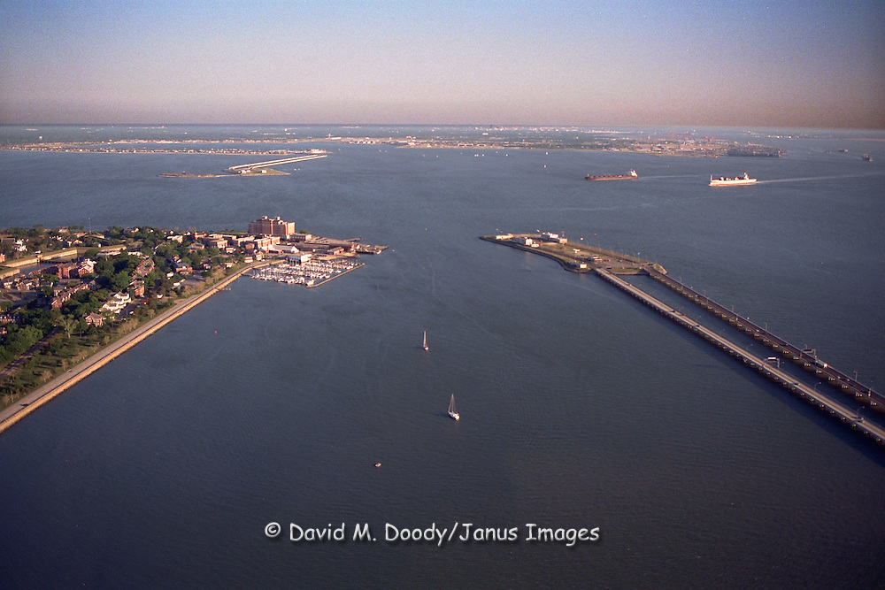 Aerial view of the Route 64 Bridge-Tunnel crossing the James River at Newport News-Hampton to Norfolk & Virginia Beach in distance.  Fort Monroe at left (Historic Old Point Comfort) Hampton Roads, Virginia at the mouth of the Chesapeake Bay and the James River.