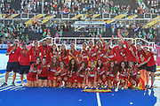 Spain celebrate with their Bronze medals during the Vitality Hockey Women's World Cup 2018 Finals Gold Medal match between the Netherlands and Ireland, at the Lee Valley Hockey and Tennis Centre, QE Olympic Park, United Kingdom on 5 August 2018. Picture by Martin Cole.