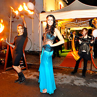 -FREE PICTURE / NO REPRODUCTION FEE-.Pictured at the annual Black and White Ball in the Blue Haven Hotel, Kinsale was Miss Cork with fire dancers from the Pas Par Tout Circus Group..Pic. John Allen