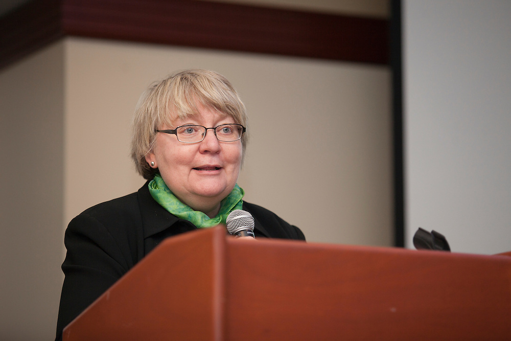 Pam Benoit, Executive Vice President & Provost, speaks at the  Global Engagement Awards Gala in Nelson Commons, on Thursday, November 19, 2015. Photo by Kaitlin Owens