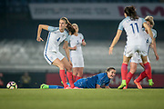 Jill Scott (England) (Manchester City) turns with the ball as the Italy Ladies player is left on the floor during the Women's International Friendly match between England Ladies and Italy Women at Vale Park, Burslem, England on 7 April 2017. Photo by Mark P Doherty.