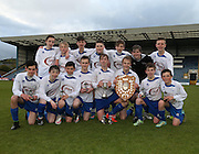 Grove under 14s with the  Urquhart Trophy sponsored by Dee Club and DFCSS league championship trophy  - St Johns RC High School v Grove Academy - Under 14s Urquart Trophy sponsored by Dee Club<br /> <br />  - &copy; David Young - www.davidyoungphoto.co.uk - email: davidyoungphoto@gmail.com
