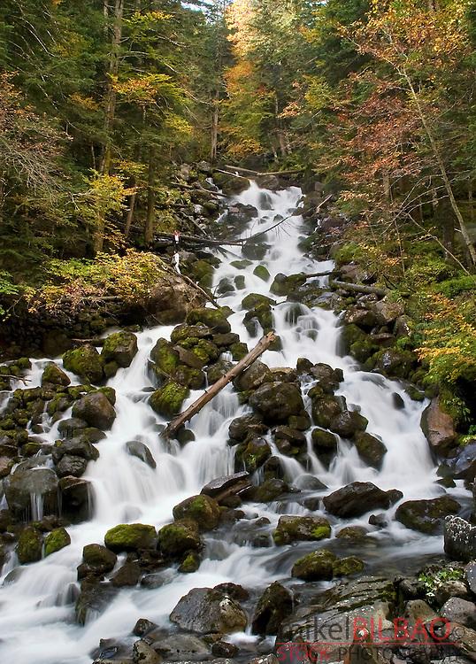 water torrent in Joeu river. Uelhs deh Joeu. Artiga de Lin.<br /> Aran Valley. Pyrenees mountain range. Lerida province.  Catalonia, Spain, Europe.