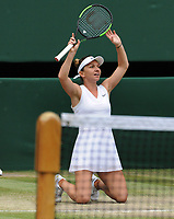 Tennis - 2019 Wimbledon Championships - Week Two, Saturday (Day Twelve)<br /> <br /> Women's Singles, Final: Serena Williams (USA) vs. Simona Halep (ROU)<br /> <br /> Simona Halep drops to her knees after winning the match, on Centre Court.<br /> <br /> COLORSPORT/ANDREW COWIE