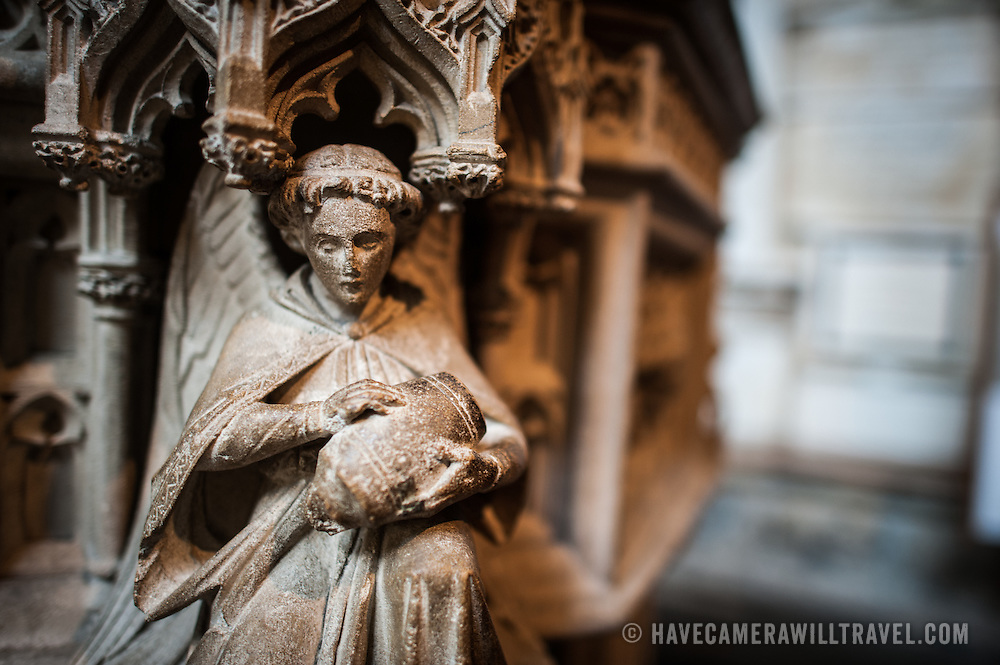 And angel carved into the base of the pulpit in Bath Abbey. Formally the Abbey Church of Saint Peter and Saint Paul, Bath Abbey is an Anglican cathedral in Bath, Somerset, England. It was founded in the 7th century and rebuilt in the 12th and 16th centuries.