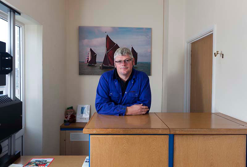 112112/7 Sea People Project - Glyn Hall-Edwards, Senior Port Controller, photographed at Whitstable Harbour Masters Office