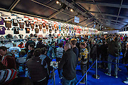 Fans queue up at the NFL shop ahead of todays game, during the International Series match between Washington Redskins and Cincinnati Bengals at Wembley Stadium, London, England on 30 October 2016. Photo by Jason Brown.