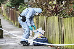 © Licensed to London News Pictures. 06/02/2019. London, UK.  Scene of a fatal stabbing in Battersea where a man died of his wounds overnight. Forensic team survey and record evidence. Photo credit Guilhem Baker/LNP