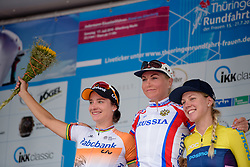 Top three on the stage: Olga Zabelinskaya, Marianne Vos and Emilia Fahlin at Thüringen Rundfarht 2016 - Stage 2 a 103km road race starting and finishing in Erfurt, Germany on 16th July 2016.