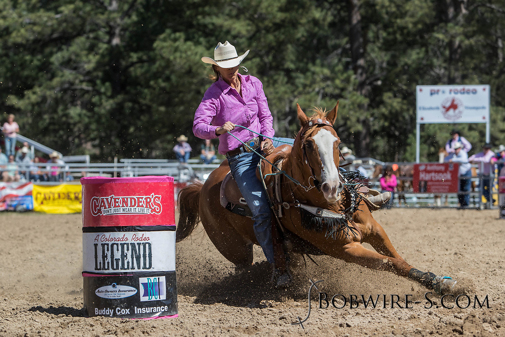 Mikala Nealy makes her barrel racing run in the first performance of the Elizabeth Stampede on Saturday, June 2, 2018.