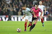 England Defender Kyle Walker battles with Scotland Defender Lee Wallace during the FIFA World Cup Qualifier group stage match between England and Scotland at Wembley Stadium, London, England on 11 November 2016. Photo by Phil Duncan.