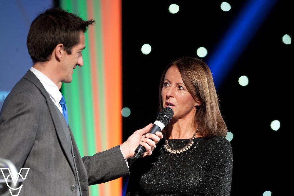 Lincolnshire Sports Awards special guest Jane Benson speaks to awards host Rob Walker<br /> <br /> Lincolnshire Sports Awards 2015.<br /> <br /> Picture: Chris Vaughan/Chris Vaughan Photography for Lincolnshire Sport.<br /> Date: November 5, 2015