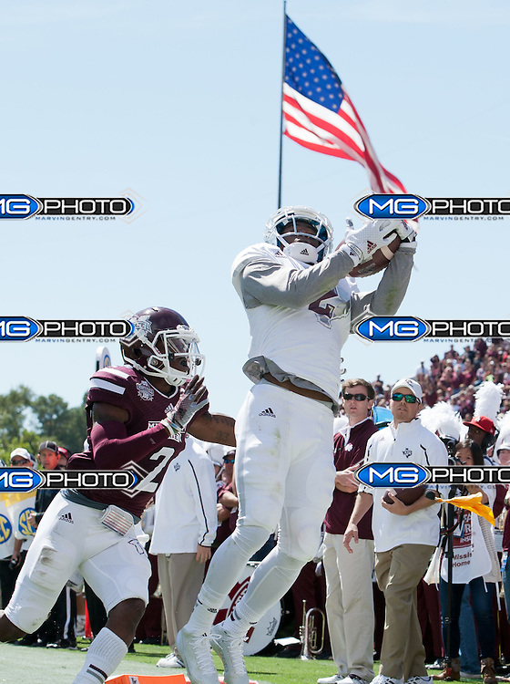 Oct 4, 2014; Starkville, MS, USA; Texas A&M Aggies wide receiver Speedy Noil (2) catches a pass but was unable to get his feet in due to \Mississippi State Bulldogs defensive back Will Redmond (2) pushing him out at Davis Wade Stadium. Mandatory Credit: Marvin Gentry
