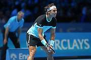 Rafael Nadal facing a serve from David Ferrer during the ATP World Tour Finals at the O2 Arena, London, United Kingdom on 20 November 2015. Photo by Phil Duncan.