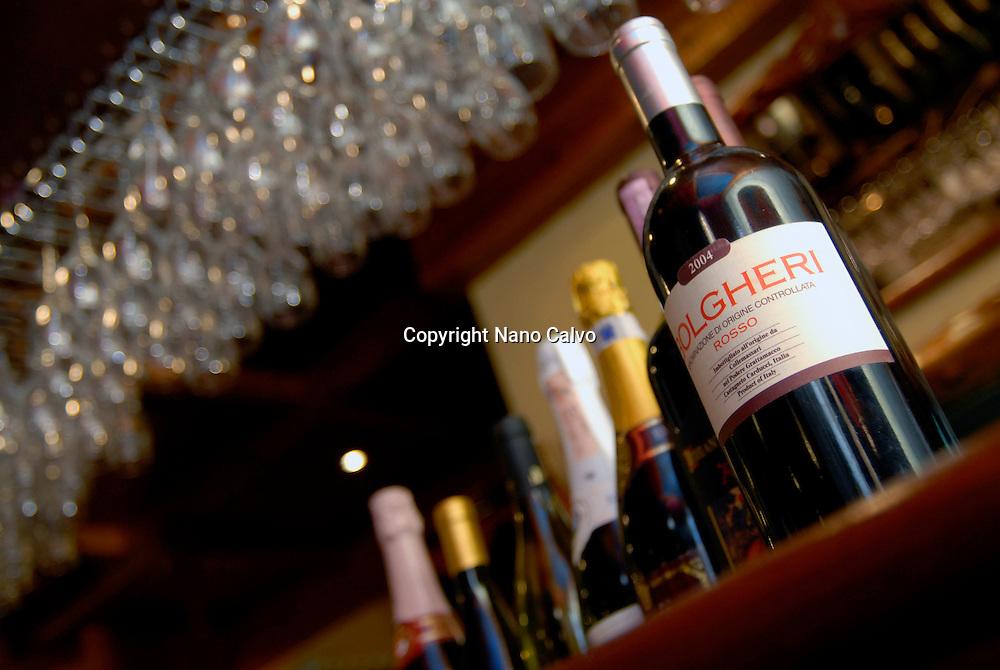 Bottles and glasses in restaurant