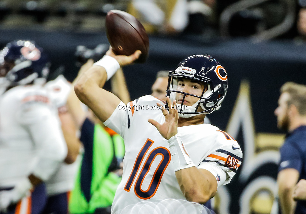 Oct 29, 2017; New Orleans, LA, USA; Chicago Bears quarterback Mitchell Trubisky (10) warms up before a game against the New Orleans Saints at the Mercedes-Benz Superdome. Mandatory Credit: Derick E. Hingle-USA TODAY Sports