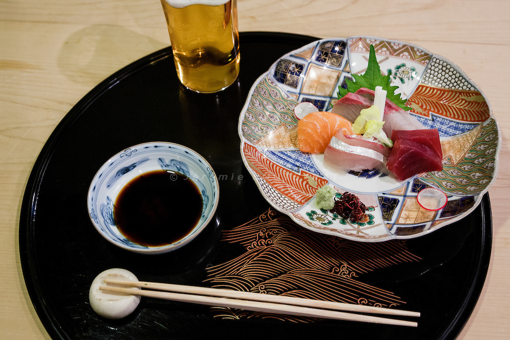 Kyoto, December 8 2015 - Sushis at Sushiiwa restaurant.
