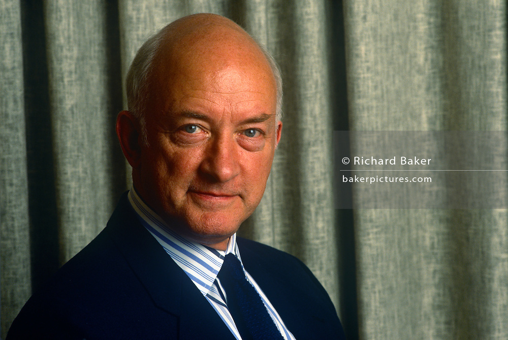 A business portrait of Sir Geoffrey Pattie, in 1990, London England. Sir Geoffrey Edwin Pattie (b1936) is a former British Conservative politician and Member of Parliament. He was educated at Durham School  and St Catharine's College, Cambridge where he obtained an MA Honours Degree in Law. He then joined the army, becoming a captain in the Royal Green Jackets.