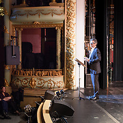 """Ira Glass, Monica Bill Barnes, and Anna Bass performing in """"Three Acts, Two Dancers, One Radio Host""""l at The Music Hall in Portsmouth, NH. April 2016"""