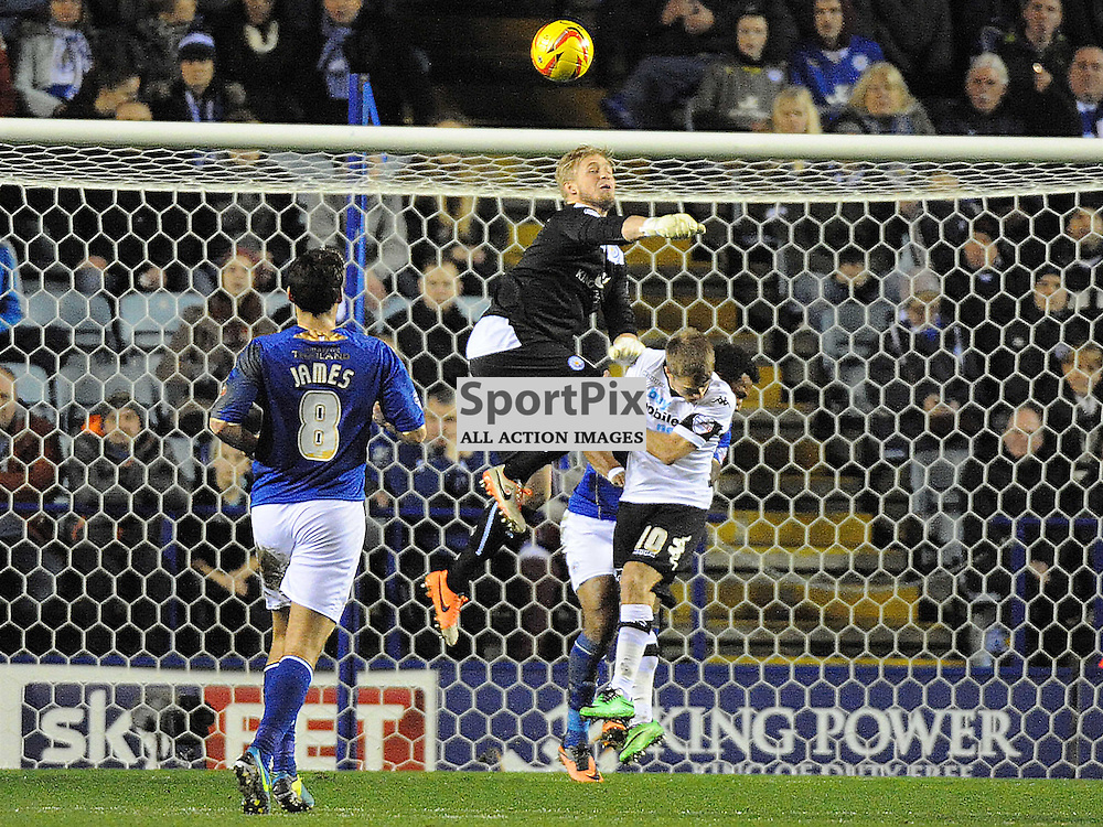 Leicesters Keeper Jasper Schmeichel, Denies Derbys Jamie Ward Header on Goal, Leicester City v Derby, Sky Bet Championship, Friday 10th January 2014