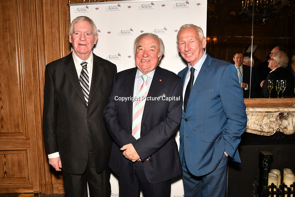 Lawrie McMenemy, Jimmy Tarbuck and Bob Wilson attend the 7th annual Churchill Awards honour achievements of the Over 65's at Claridge's Hotel on 10 March 2019, London, UK.