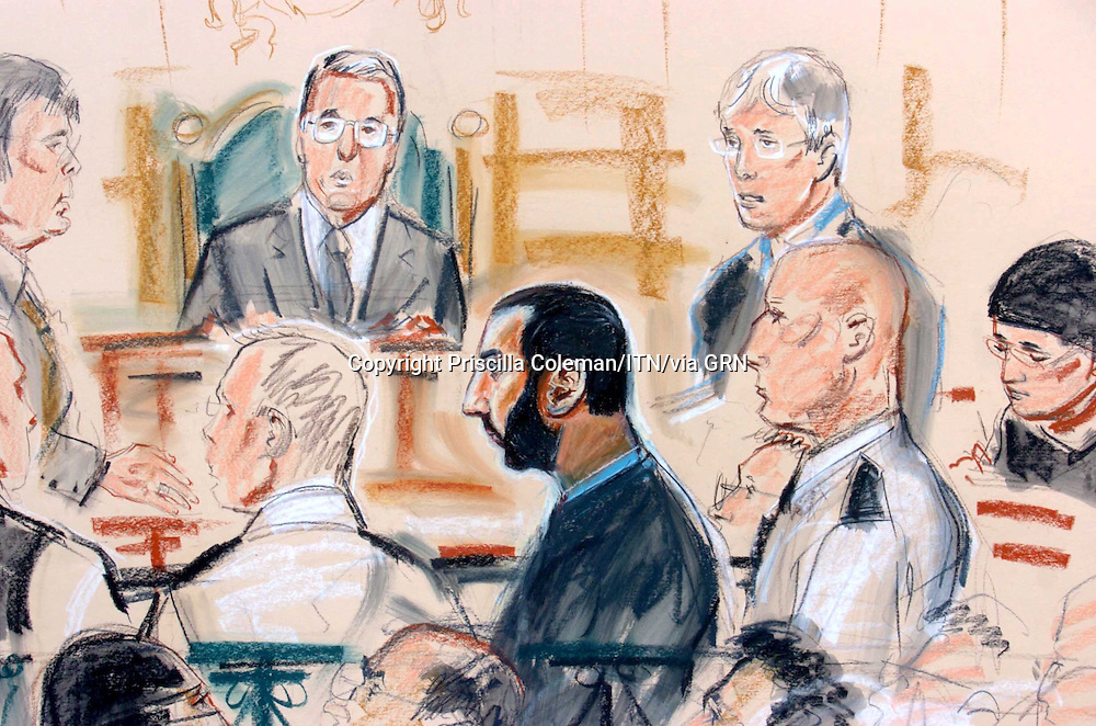 ©PRISCILLA COLEMAN ITV NEWS.SUPPLIED BY PHOTONEWS SERVICE.PIC SHOWS: ARTIST IMPRESSION OF BABAR AHMAD, 30  OF FOUNTAIN ROAD, TOOTING STH LONDON WHO APPEARED AT BOW STREET MAGISTRATES COURT TODAY 06.08.04 FOLLOWING A US EXTRADITION REQUEST FOR TERRORISM CHARGES-SEE STORY