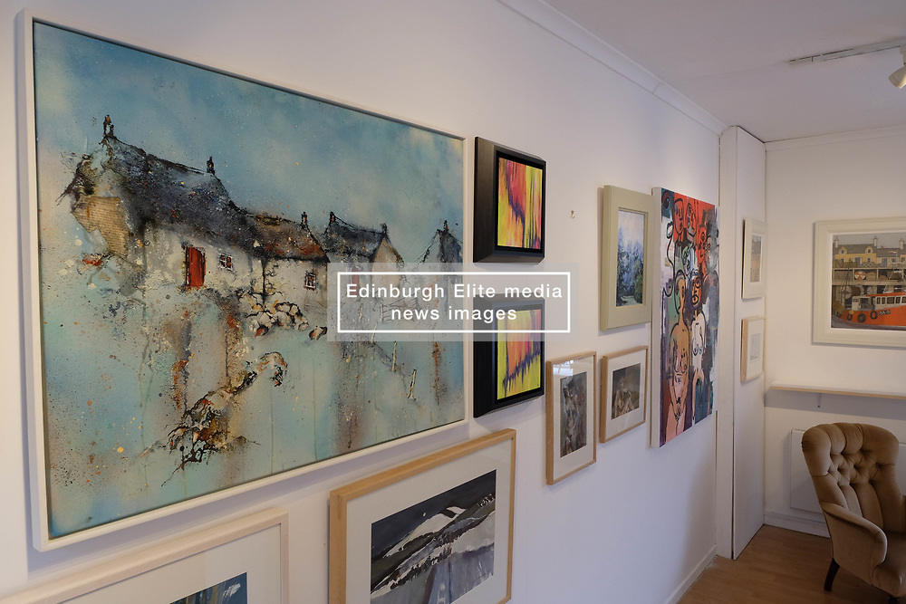 Pictured: work by Minette Bell Macdonald, Helen Acklam, Liz Perry, Catherine Coulson (Top row), Helen Acklam, Hazel Campbell, Jane Howe (bottom row), Emma Visca (end).<br /> <br /> <br /> More than 30 artists have contributed to Spring Fling's new Place exhibition, which explores sense of space and how it inspires.  The exhibition  at the Otterburn Gallery in Dumfries, will be available until 7 May 2018 <br /> <br /> Ger Harley | EEm Date