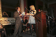 ALEXANDER WAUGH AND COURTNEY LOVE, Literary Review's Bad Sex In Fiction Prize.  In & Out Club (The Naval & Military Club), 4 St James's Square, London, SW1, 29 November 2006. <br />Ceremony honouring author who writes about sex in a 'redundant, perfunctory, unconvincing and embarrassing way'. ONE TIME USE ONLY - DO NOT ARCHIVE  © Copyright Photograph by Dafydd Jones 248 CLAPHAM PARK RD. LONDON SW90PZ.  Tel 020 7733 0108 www.dafjones.com