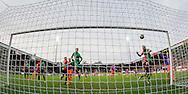 NIJMEGEN, NEC - Feyenoord, voetbal, Eredivisie seizoen 2015-2016, 20-12-2015, Stadion De Goffert, NEC keeper Marco van Duin (M) gaat onder een vrije trap van Feyenoord speler Tonny Vilhena (niet zichtbaar) door, NEC speler Rens van Eijden (2R) is te laat, doelpunt, 0-1 Feyenoord.