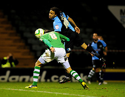 Yeovil Town's Edward Upson scores a header - Photo mandatory by-line: Dougie Allward/JMP  - Tel: Mobile:07966 386802 04/12/2012 - SPORT - FOOTBALL - Johnstone's Paint Trophy  -  Yeovil  -  Huish Park  -  Yeovil Town V Wycombe Wanderers