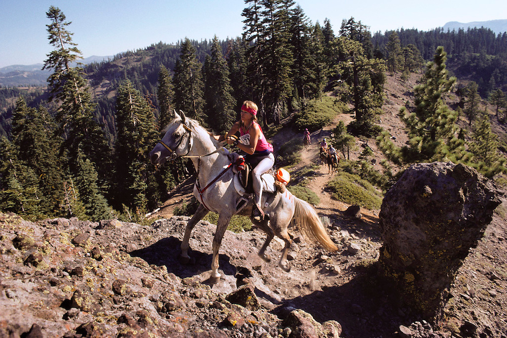 The annual Tevis Cup 100-mile endurance horse race from Squaw Valley to Auburn, California crosses the Sierras near Cougar Rock.