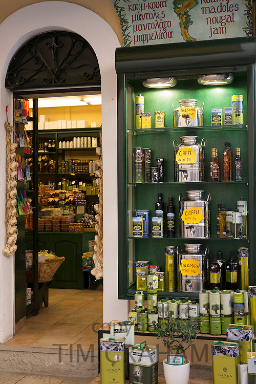 Gifts and souvenirs shop selling olives and olive oil products and specialty food in Kerkyra, Corfu Town, Greece