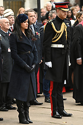© Licensed to London News Pictures. 07/11/2019. London, UK. The Duke and Duchess of Sussex attend the 91st Field of Remembrance at Westminster Abbey. The Field of Remembrance has been organised by The Poppy Factory and held in the grounds of Westminster Abbey since November 1928. Photo credit: Ray Tang/LNP