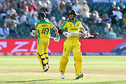 David Warner of Australia batting with Steve Smith of Australia during the ICC Cricket World Cup 2019 match between Afghanistan and Australia at the Bristol County Ground, Bristol, United Kingdom on 1 June 2019.