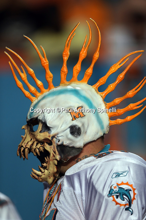 A Miami Dolphins fan wears a Halloween mask on the sideline during the NFL week 9 football game against the Cincinnati Bengals on Thursday, Oct. 31, 2013 in Miami Gardens, Fla.. The Dolphins won the game 22-20 in overtime. ©Paul Anthony Spinelli