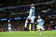 Manchester City midfielder Raheem Sterling (7) scores a goal 1-0 and celebrates  during the Champions League match between Manchester City and Dinamo Zagreb at the Etihad Stadium, Manchester, England on 1 October 2019.