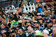 NFL fans cheer on the Defence during the International Series match between Oakland Raiders and Seattle Seahawks at Wembley Stadium, London, England on 14 October 2018.