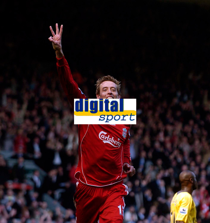Photo: Jed Wee/Sportsbeat Images.<br /> Liverpool v Arsenal. The Barclays Premiership. 31/03/2007.<br /> <br /> Liverpool's Peter Crouch celebrates with the number three as he completes his hat trick.