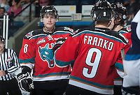 KELOWNA, CANADA - NOVEMBER 24:  Cody Fowlie #18 of the Kelowna Rockets celebrates a goal against the  Saskatoon Blades at the Kelowna Rockets on November 24, 2012 at Prospera Place in Kelowna, British Columbia, Canada (Photo by Marissa Baecker/Shoot the Breeze) *** Local Caption ***