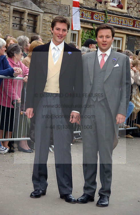 Left to right, thr groom HARRY LOPES and his best man at the wedding of Laura parper Bowles to Harry Lopes held at Lacock, Wiltshire on 6th May 2006.<br />