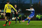 Ipswich Town striker Tom Lawrence (27) shoots during the EFL Sky Bet Championship match between Burton Albion and Ipswich Town at the Pirelli Stadium, Burton upon Trent, England on 14 April 2017. Photo by Richard Holmes.