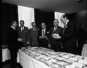 Hovis Family Bakery Competition..1971..23.02.1971..02.23.1971..23rd February 1971..At the Hibernian Hotel, Dublin, Ranks Ireland Ltd.,held the prize giving and celebration lunch for The Hovis Family Bakery Competition winners..Pictured studying the bread entered into the competition were, (L-R) Mr J N Westnedge, Competition judge, Mr H L Donovan,Managing Director,Ranks Irl Ltd,  Mr P L Greenwood,Deputy Managing Director,Ranks Irl Ltd, Mr E W F Page,Competition judge, Mr R J Matthews,Director, Ranks Irl Ltd and Mr J Smith,Competition Judge.