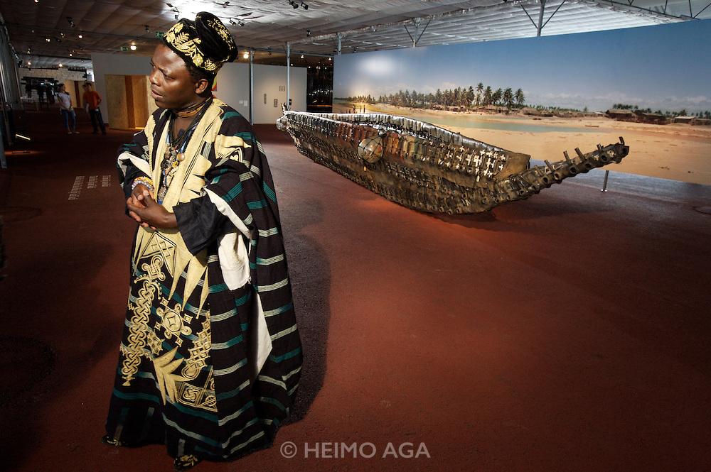 "documenta12. Orangerie. Aue-Pavillions by Lacaton & Vassal. Romuald Hazoume and his ""Dream"" boat, 2007."